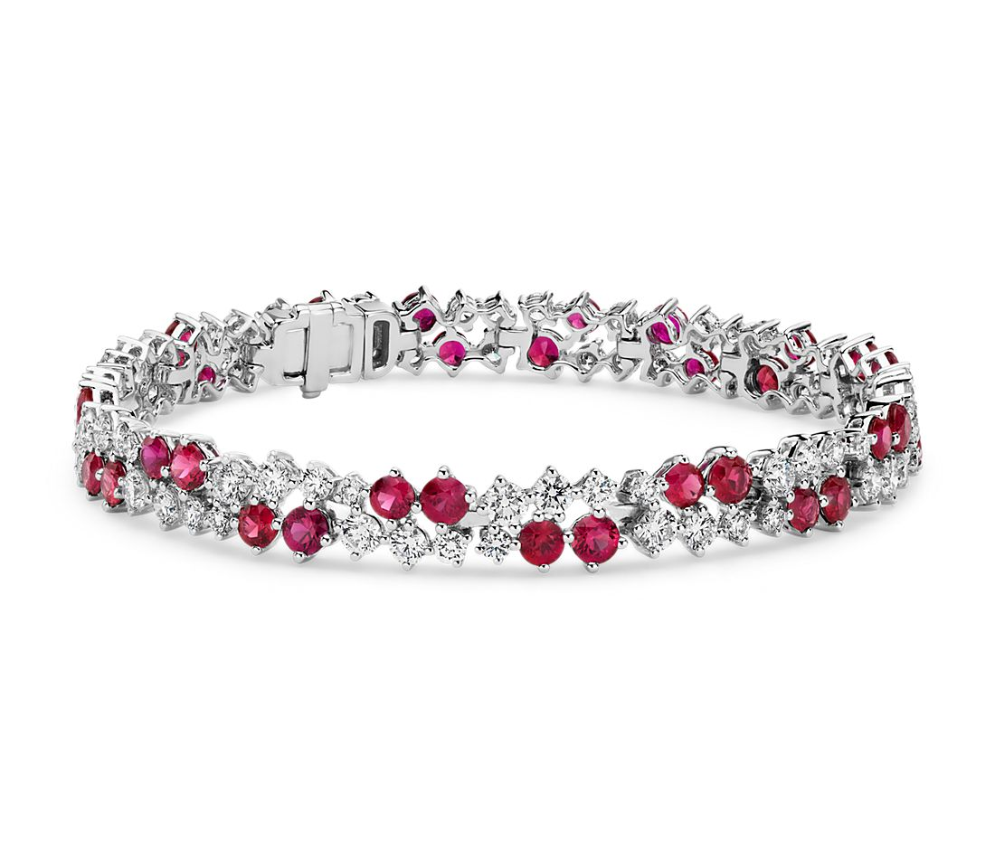 Ruby And Diamond Scatter Bracelet In 18k White Gold 3mm
