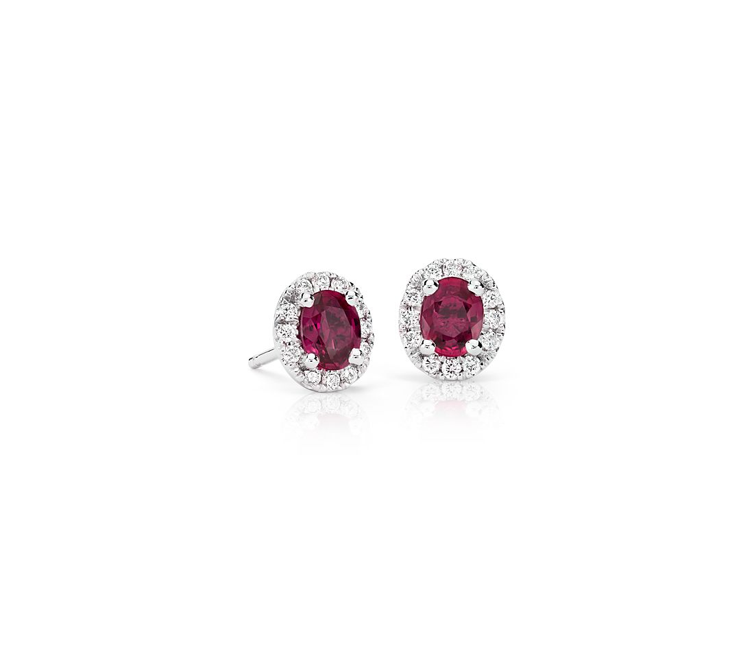 Ruby And Diamond Halo Stud Earrings In 18k White Gold 5x4mm