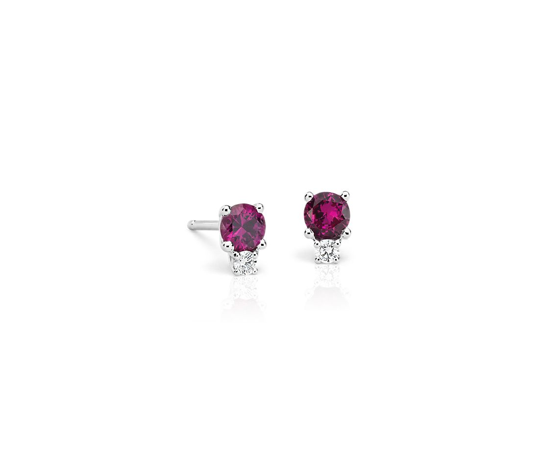 Ruby And Diamond Stud Earrings In 18k White Gold 4mm