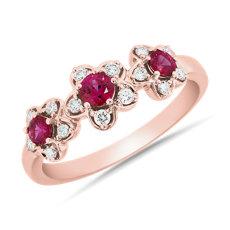 新款 18k 玫瑰金红宝石和钻石三朵小花戒指