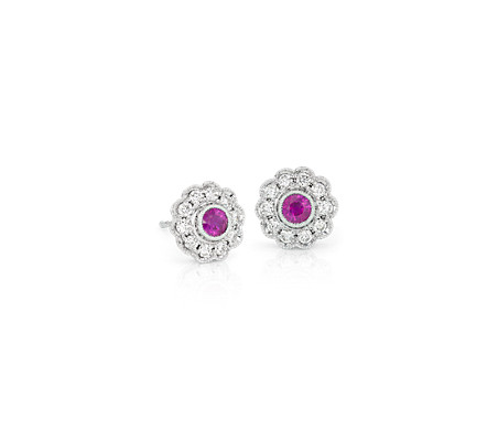 Ruby and Diamond Vintage-Inspired Fiore Stud Earrings in 14k White Gold (3mm)