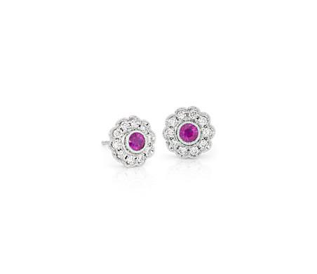 Aretes Fiore de rubí y diamante retro en oro blanco de 14 k (3mm)