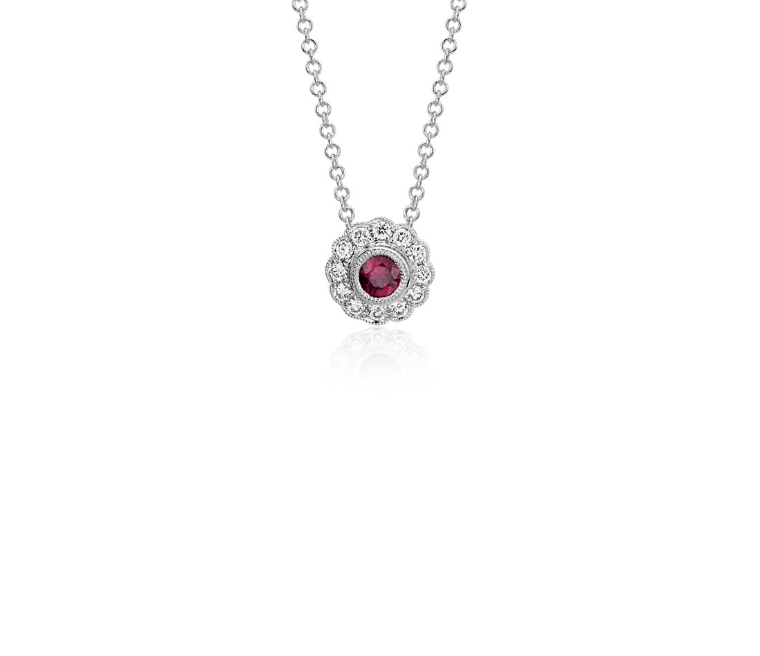 Ruby and Diamond Vintage-Inspired Fiore Pendant in 14k White Gold (3.5mm)