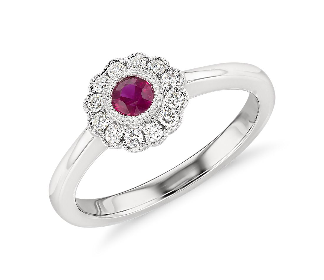 ruby and halo vintage inspired fiore ring in 14k