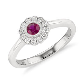 NEW Ruby and Diamond Vintage-Inspired Fiore Ring in 14k White Gold (3.5mm)