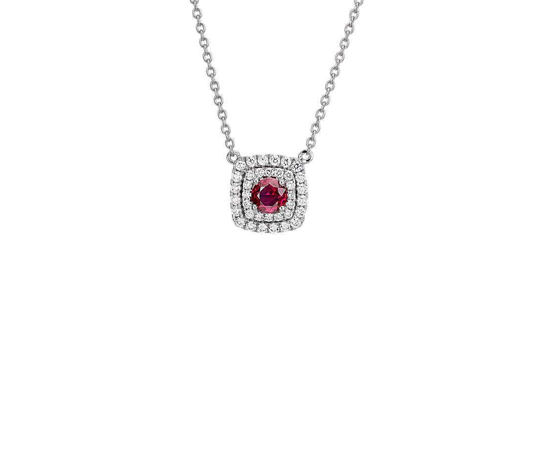 Ruby and Double Diamond Halo Necklace in 14k White Gold (4mm)