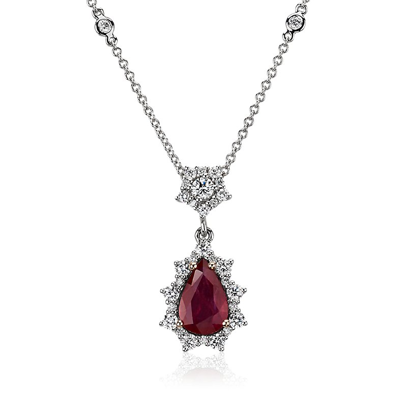 Pear-Shaped Ruby Drop Pendant with Starburst Halo in 18k White an