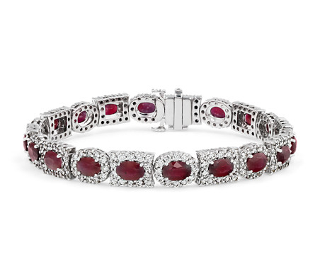 Ruby Oval and Diamond Mixed-Shaped Halo Eternity Bracelet in 18k White Gold