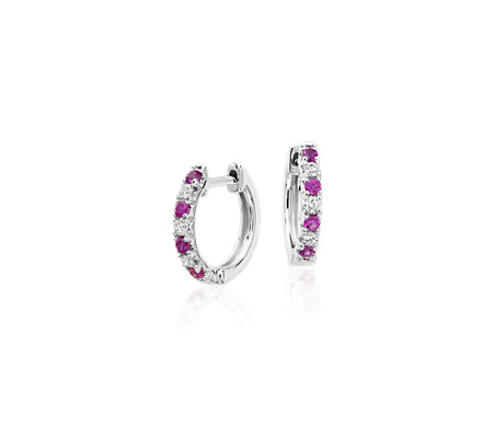 Petite Pink Sapphire and Diamond Pavé Huggie Hoop Earrings in 14k White Gold (1.9mm)