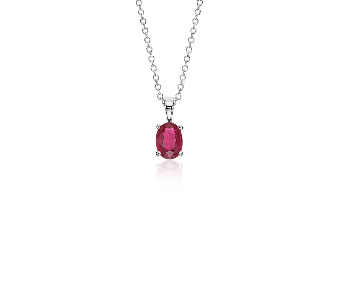 Oval Ruby Pendant in 18k White Gold (7x5mm)
