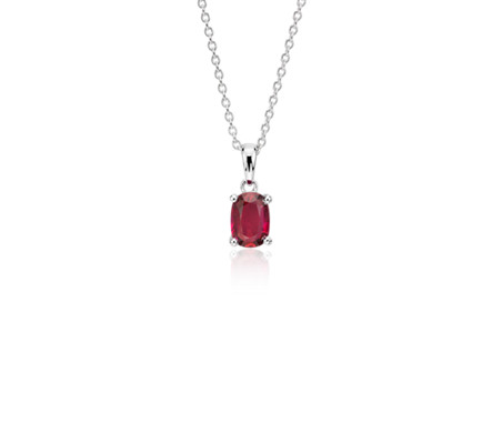Oval Solitaire Ruby Pendant in 18k White Gold (7x5mm)