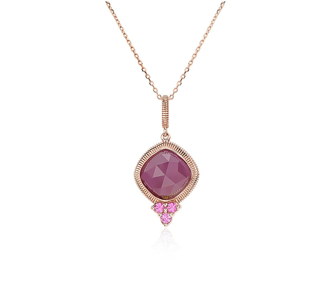 Pink Ruby Jewellery: Frances Gadbois Ruby Cushion And Pink Sapphire Necklace In