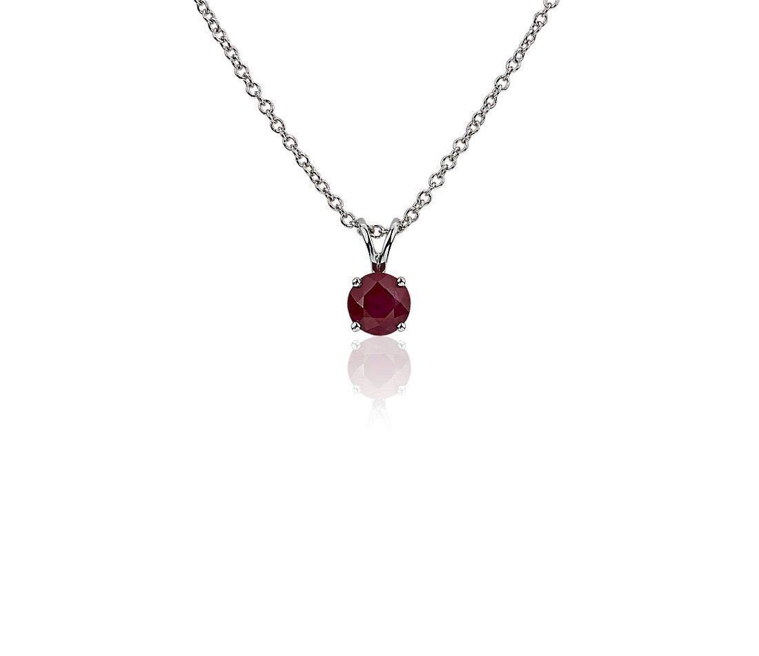 Ruby Solitaire Pendant in 18k White Gold (5mm)