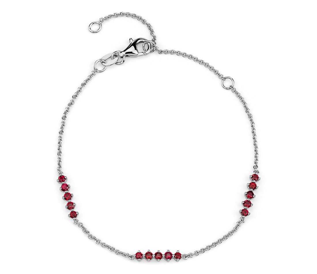 Ruby Station Bar Bracelet in 14k White Gold (1.9mm)