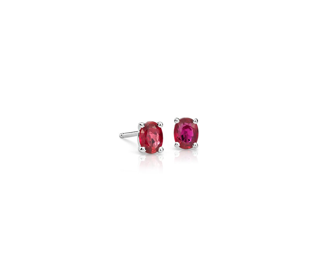 Ruby Stud Earrings In 14k White Gold 5x4mm