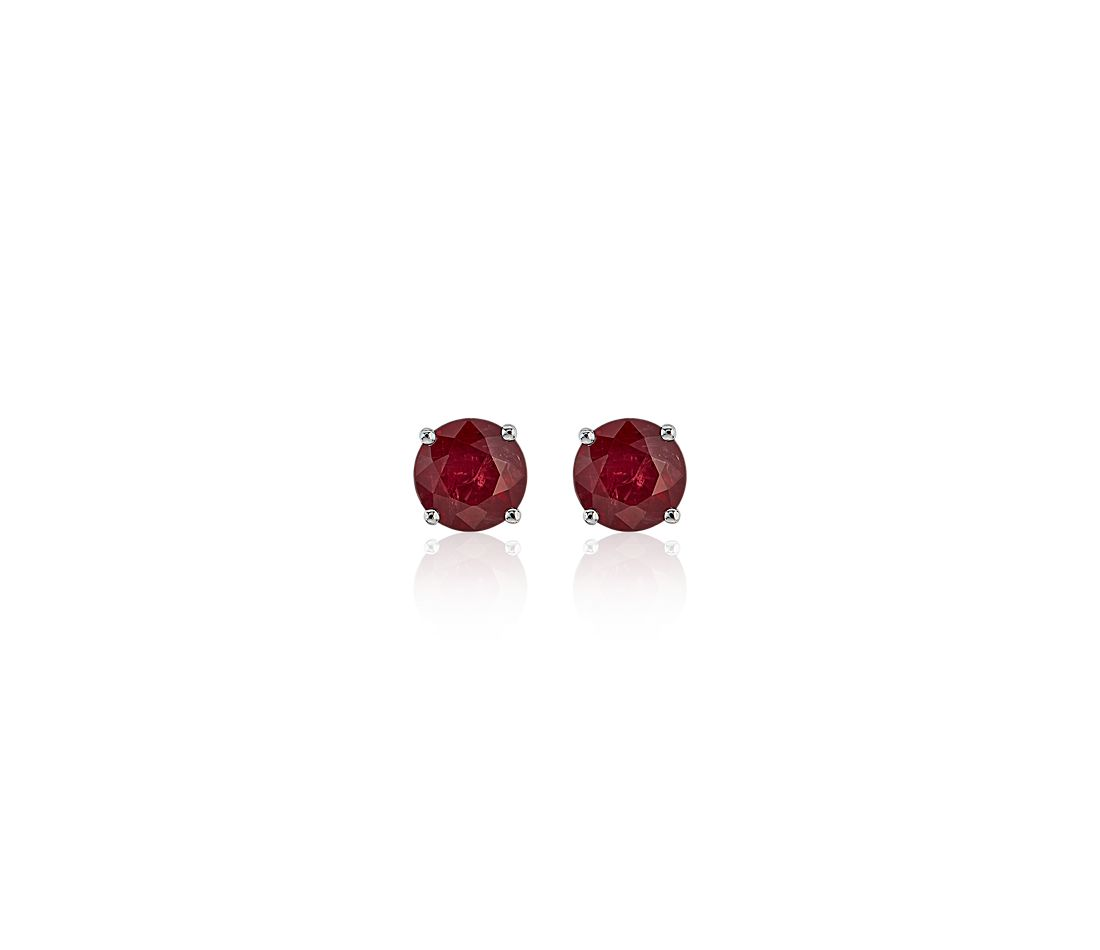 Ruby Stud Earrings in 18k White Gold (5mm)