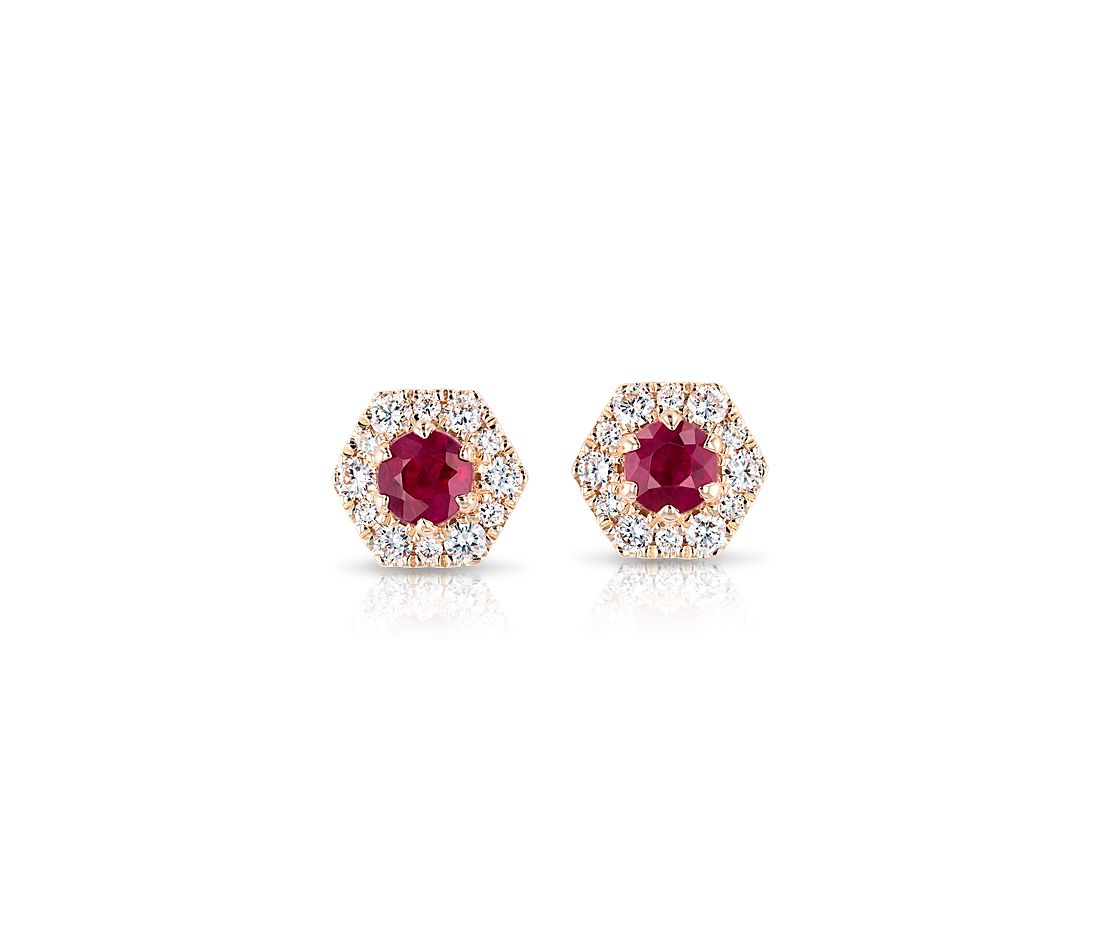 Ruby Stud Earrings with Hexagon Diamond Halo in 14k Rose Gold