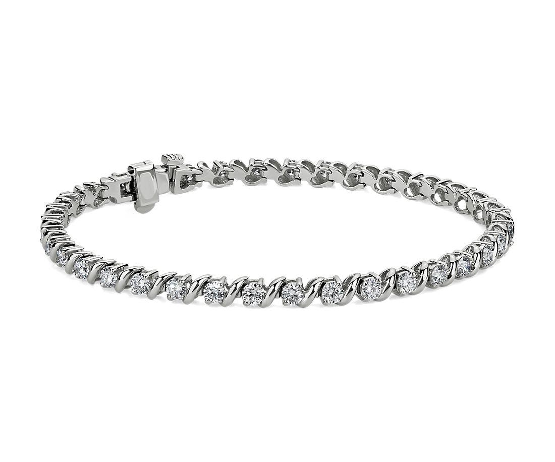 14k 白金S 鏈狀鑽石手鍊(3 克拉總重量)