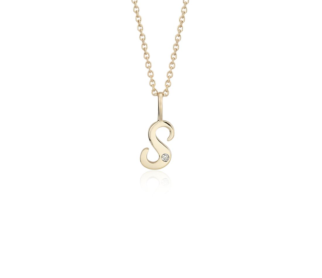 """S"" Mini Initial Diamond Pendant in 14k Yellow Gold"