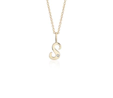 """Colgante de diamante con inicial """"S"""" en miniatura en oro amarillo de 14k"""