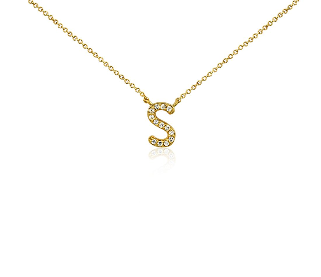 """S"" White Sapphire Mini Initial Necklace in Gold Vermeil"