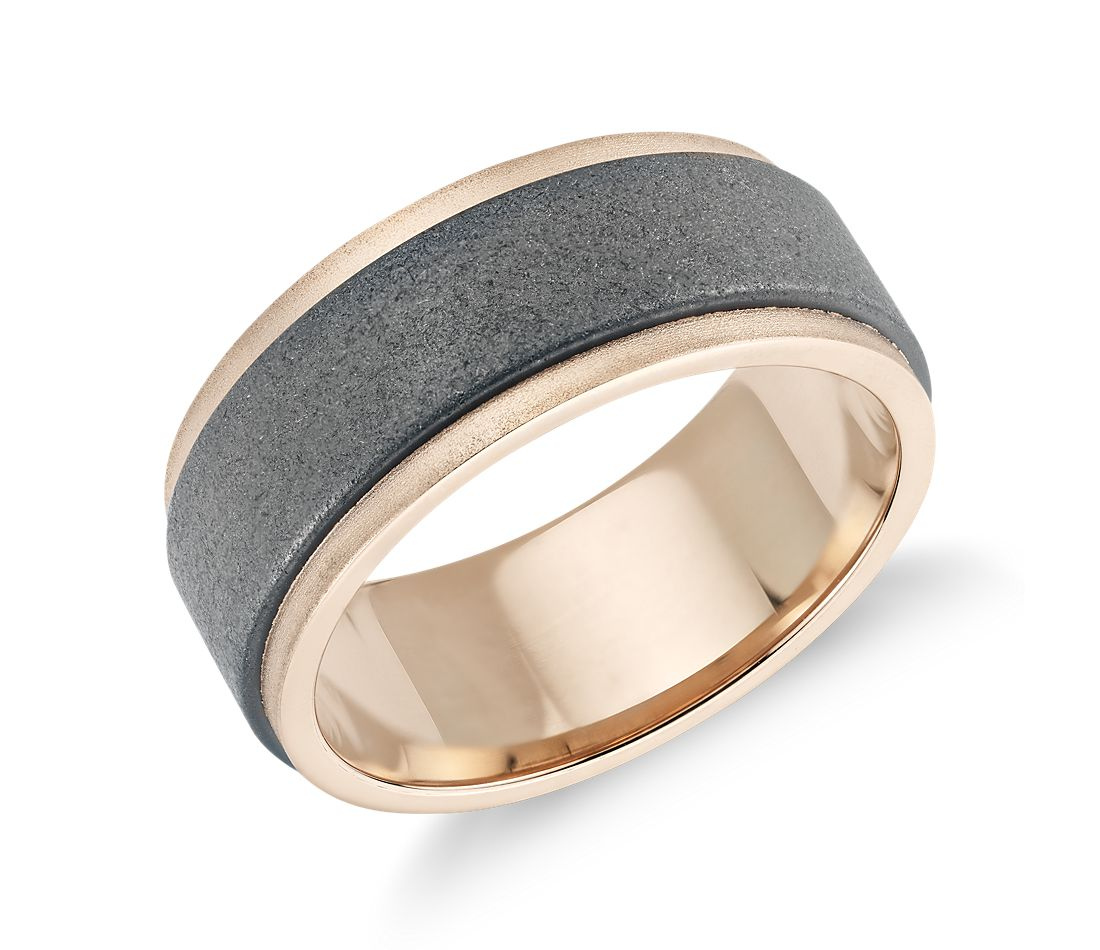 Sand Blast Finish Wedding Band in Tungsten Carbide and 18k Rose Gold (8mm)