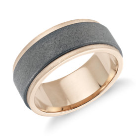 NEW Sand Blast Finish Wedding Band in Tungsten Carbide and 18k Rose Gold (8mm)