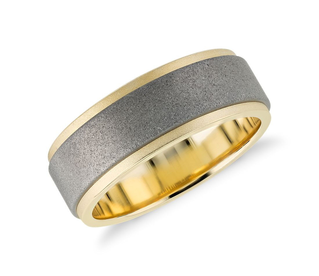 Sand Blast Finish Wedding Ring in Tungsten Carbide and 18k Yellow Gold (8mm)