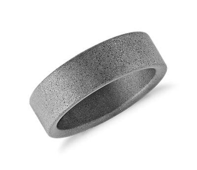 Sand Black Finish Wedding Ring