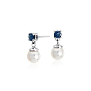 Akoya Cultured Pearl and Sapphire Drop Earrings in 18k White Gold (3.5mm)