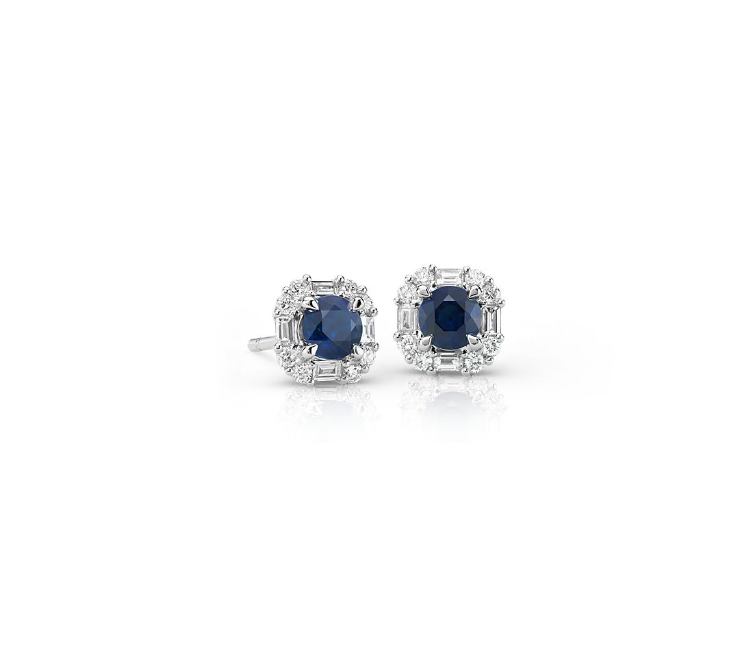 Sapphire and Diamond Baguette Halo Earrings in 14k White Gold (4mm)