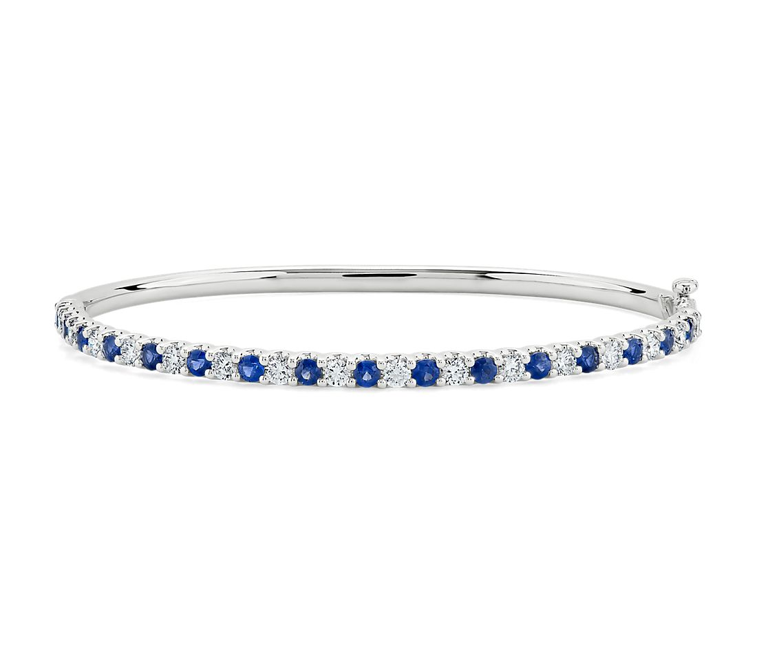 Sapphire and Diamond Bangle in 14k White Gold