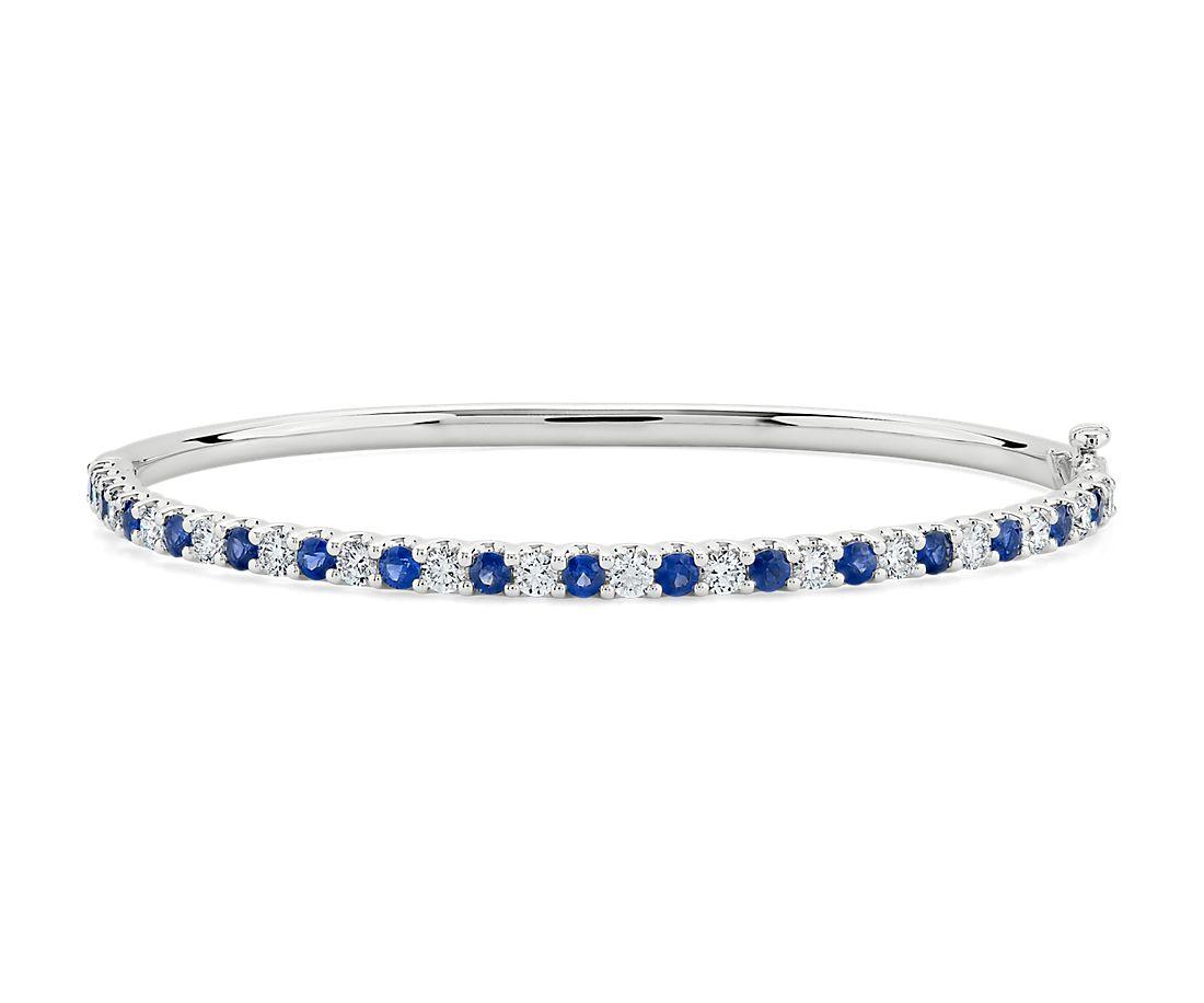 Bracelet jonc diamants et saphirs en or blanc 14carats
