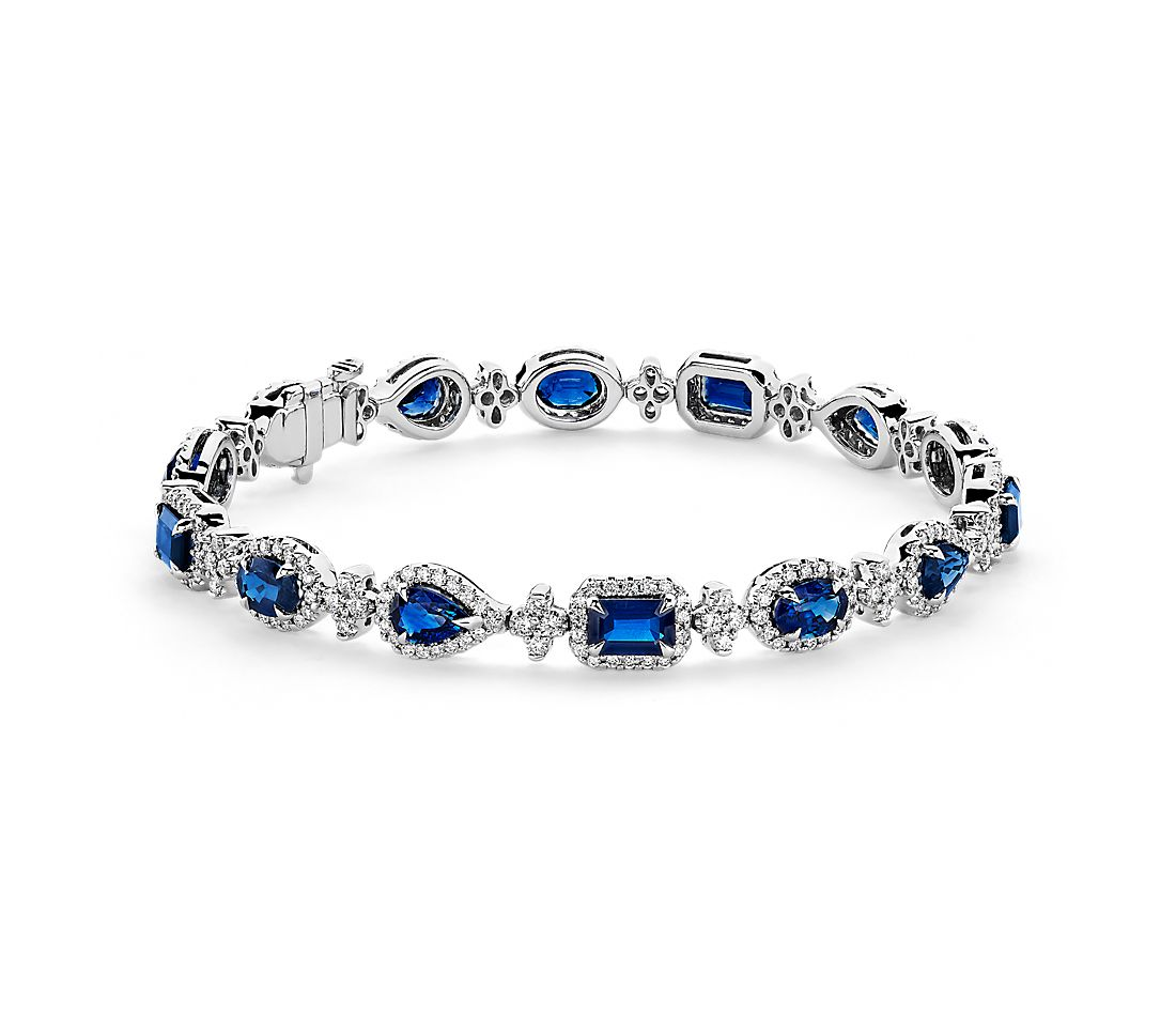 Mixed-Shape Sapphire and Diamond Bracelet in 18k White Gold