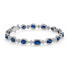 NEW Mixed-Shape Sapphire and Diamond Bracelet in 18k White Gold