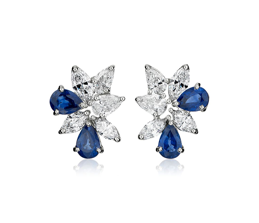 Sapphire and Diamond Cluster Earring in 18k White Gold