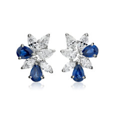 NEW Sapphire and Diamond Cluster Earring in 18k White Gold