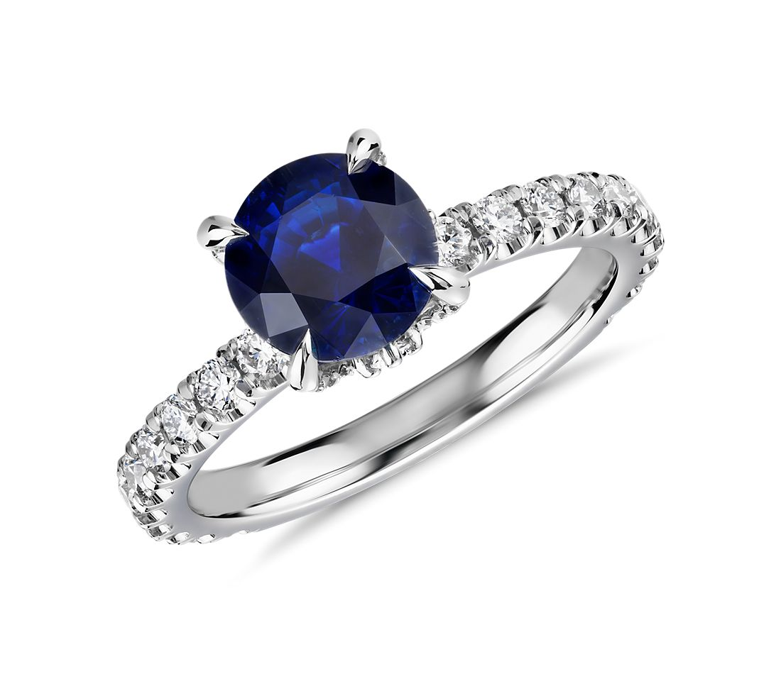 Blue Nile Studio Crown Sapphire and Diamond Ring in Platinum (7mm)