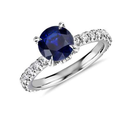 Bague couronne saphir et diamants Blue Nile Studio en platine (7 mm)