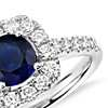 Sapphire and Diamond Cushion Halo Ring in 14k White Gold (6mm)
