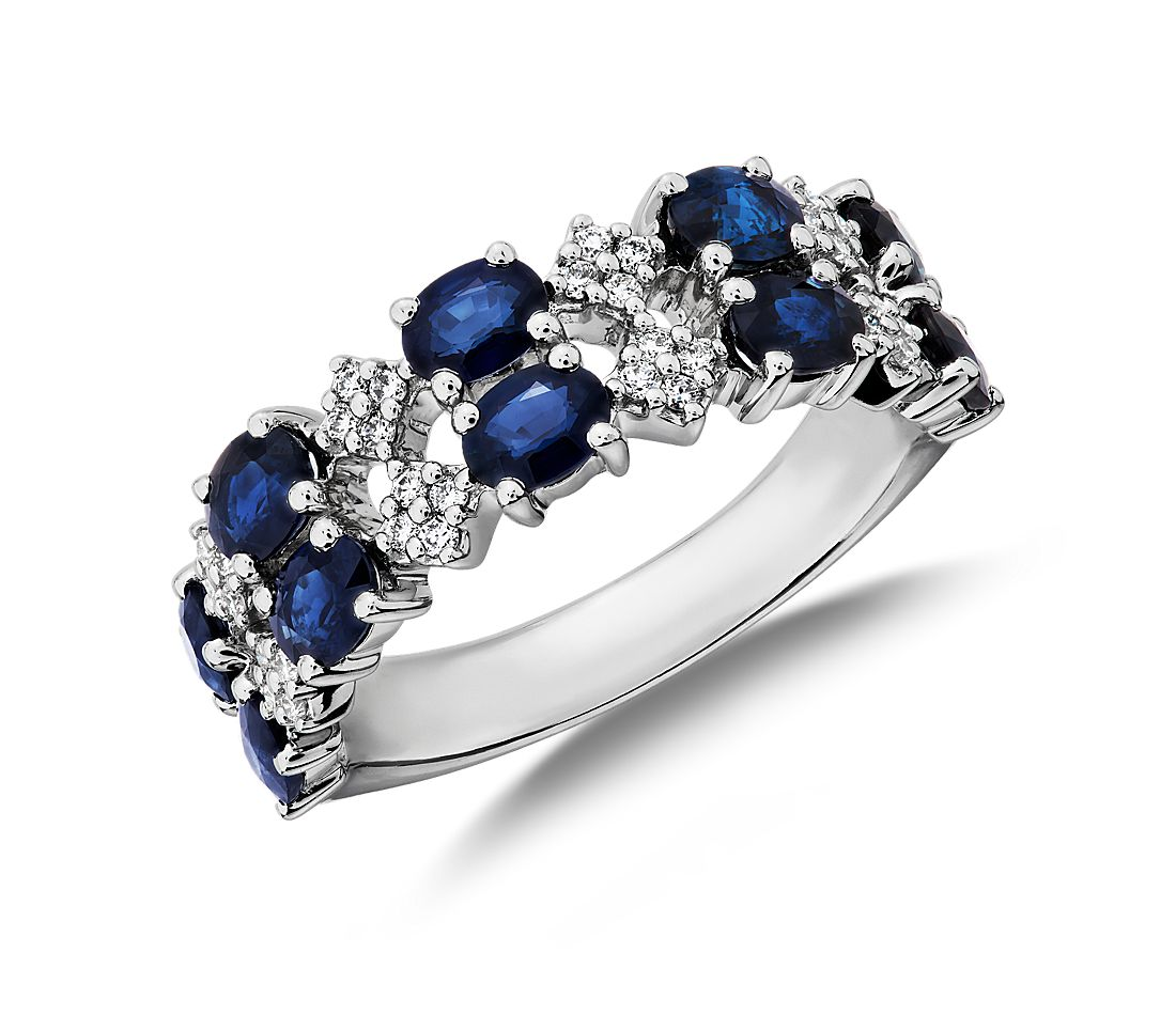Sapphire and Diamond Double Band Ring in 14k White Gold
