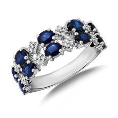 NEW Sapphire and Diamond Double Band Ring in 14k White Gold
