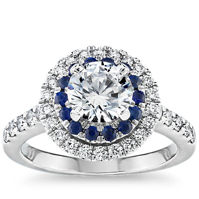 Sapphire and Diamond Double Halo Engagement Ring in 14k White Gold