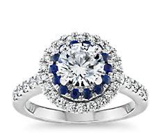 14k 白金蓝宝石与钻石双光环订婚戒指<br>(1/2 克拉总重量)