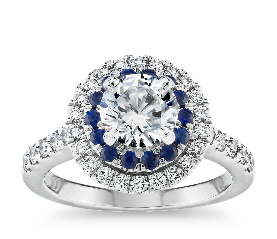 sapphire and diamond double halo engagement ring in 14k. Black Bedroom Furniture Sets. Home Design Ideas