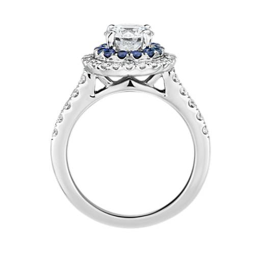 Sapphire and Diamond Double Halo Engagement Ring