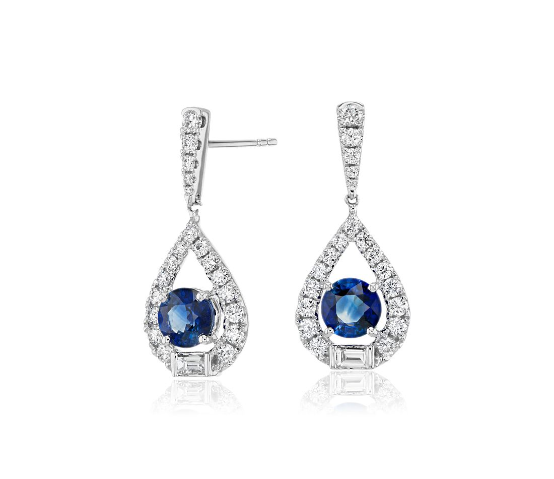 Sapphire and Diamond Pear-Shaped Drop Earrings in 18k White Gold (3/4 ct. tw.)