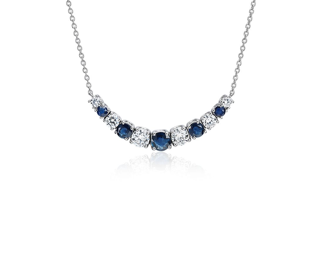 Graduated Sapphire and Diamond Smile Necklace in 14k White Gold