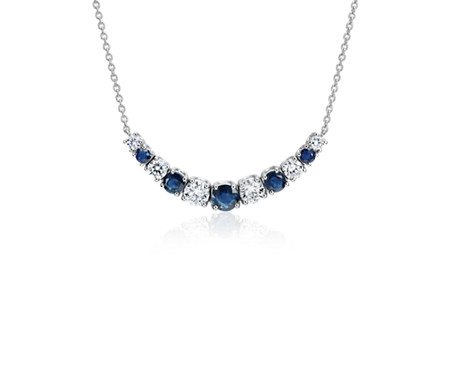 Graduated Sapphire and Diamond Smile Necklace in 14k White Gold (1/2 ct. tw.)