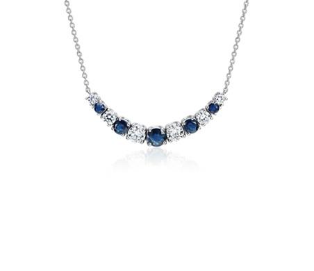 14k 白金 大小漸變藍寶石與鑽石微笑項鍊<br>( 1/2 克拉總重量)